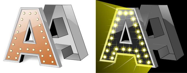 световые буквы, принцип подсветки с открытыми диодами